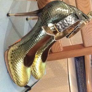Lanvin gold python platform high heel stilettos 38